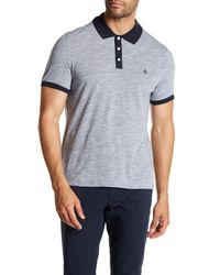 Original Penguin - Blue Contrast Collar Slub Polo Shirt for Men - Lyst