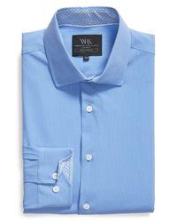 W.r.k. Blue Trim Fit 4-way Stretch Dress Shirt for men