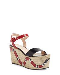 Gucci - Multicolor Barbette Espadrille Wedge Sandal - Lyst