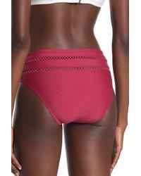 Ella Moss Red High Waist Crochet Inset Bikini Bottoms