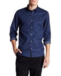 Lindbergh Blue Fragments Long Sleeve Slim Fit Shirt for men