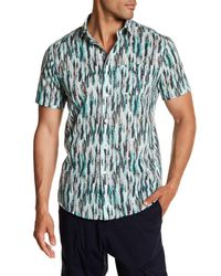 Lindbergh - Green Feather Print Short Sleeve Regular Fit Shirt for Men - Lyst