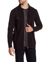 Lindbergh Black Spread Collar Shirt Jacket for men