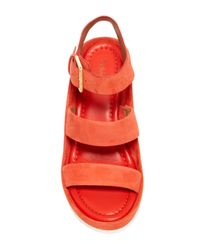 CALVIN KLEIN 205W39NYC - Red Hailey Suede Wedge Sandal - Lyst