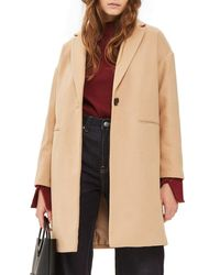 TOPSHOP - Natural Millie Relaxed Coat - Lyst