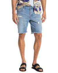 AllSaints Blue Distressed Switch Shorts for men