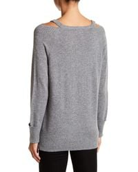 In Cashmere - Gray Cold Shoulder Cashmere Sweater - Lyst