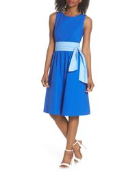 J.Crew - Blue Two-tone Tie Waist Sheath Dress (nordstrom Exclusive) - Lyst