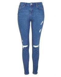 TOPSHOP Tall Moto Blue Rip Jamie Jeans