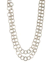 TMRW STUDIO - Metallic Antique Silver Plated Two-row Link Necklace - Lyst