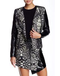 StyleStalker - Black Flaunt It Faux Leather Trim Jacket - Lyst