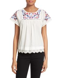 Rebecca Taylor | White Garden Short Sleeve Embroidered Shirt | Lyst