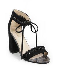 Catherine Malandrino Black Strake Lace-up Block Heel Sandal