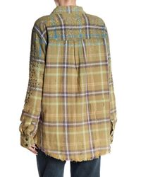 Free People Multicolor Deconstructed Embellished Flannel Jacket