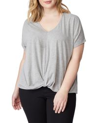REBEL WILSON X ANGELS Gray Knot V-neck Tee (plus Size)
