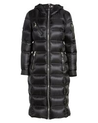 Andrew Marc - Black Charlize 42 Hooded Water Resistant Down Coat With Genuine Fox Fur Trim - Lyst