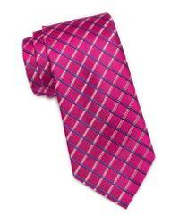 Ted Baker Pink Grid Pattern Silk Tie for men