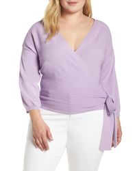 Vince Camuto Purple Side Tie Wrap Sweater (plus Size)
