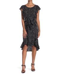 Max Studio Black Printed Flutter Sleeve Tie Waist Dress