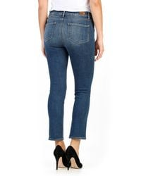 PAIGE - Blue Jacqueline Embroidered High Waist Straight Leg Jean - Lyst