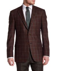 Hart Schaffner Marx | Brown Rust Plaid Two Button Notch Lapel Wool Blend Sport Coat for Men | Lyst