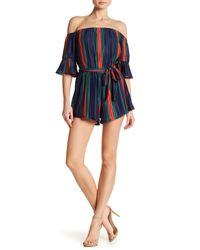 Wow Couture Blue Striped Woven Romper