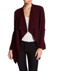 Chaus - Purple Long Sleeve Textured Knit Cardigan - Lyst