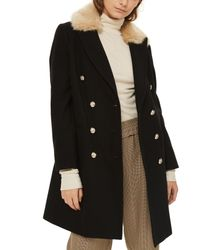TOPSHOP - Black Nina Faux Fur Collar Double Breasted Coat - Lyst