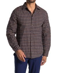 Thomas Dean Natural Plaid Crinkled Shirt Jacket for men