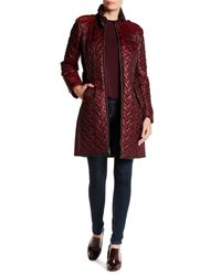 Cole Haan | Red Quilted Leather Trim Belted Coat | Lyst