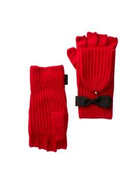 Kate Spade - Red Grossgrain Bow Detailed Pop Top Mittens - Lyst