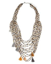 Panacea - Metallic Multistrand Crystal Statement Necklace - Lyst