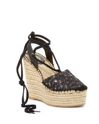 Ash | Black Tessa Bis Espadrille Platform Wedge Sandal | Lyst