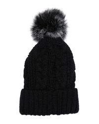 Surell Black Slouchy Faux Fur Pom Pom Beanie