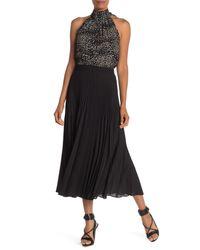 Max Studio Black Solid Pleated Maxi Skirt