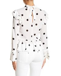Romeo and Juliet Couture White Polka Dot Tie Neck Top