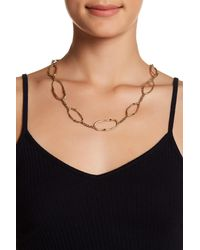 Lucky Brand - Black Semi Precious Accented Oval Station Necklace - Lyst