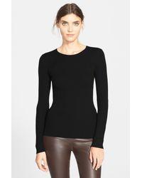 Theory Black 'mirzi' Rib Knit Merino Wool Sweater