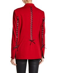 Insight Red Faux Leather Lace-up Blazer