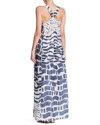 Love Stitch Blue Metal Ring Racerback Maxi Dress