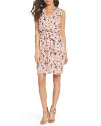 Charles Henry Pink Floral Faux Wrap Dress