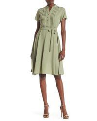Nanette Lepore Green Short Sleeve Pintuck Dress