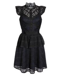 Chelsea28 - Black Lace Fit & Flare Dress - Lyst