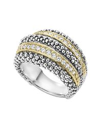 Lagos Metallic Sterling Silver And 18k Gold Diamond Caviar Ring