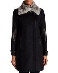 Andrew Marc - Black Mara Genuine Rabbit Fur Collar Wool Blend Coat - Lyst