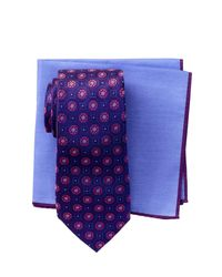 Ted Baker - Purple Silk Kyle Floral Neat Tie & Pocket Square Set for Men - Lyst