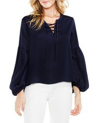 Vince Camuto - Blue Lace-up Hammered Satin Blouse - Lyst