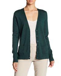 Halogen - Green Lightweight Merino Wool V-neck Cardigan - Lyst