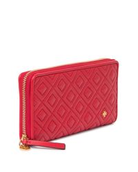 Tory Burch Red Fleming Zip Continental Wallet