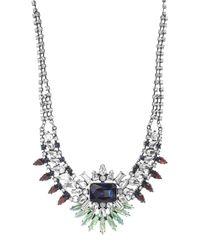 Steve Madden - Metallic Multi-colored Crystal Bib Necklace - Lyst